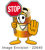 #22640 Clip Art Graphic Of A Construction Road Safety Barrel Cartoon Character Holding A Stop Sign