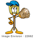 #22662 Clip Art Graphic Of A Straw Broom Cartoon Character Catching A Baseball With A Glove