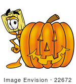 #22672 Clip Art Graphic Of A Straw Broom Cartoon Character With A Carved Halloween Pumpkin