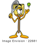 #22681 Clip Art Graphic Of A Straw Broom Cartoon Character Preparing To Hit A Tennis Ball