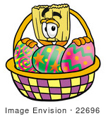#22696 Clip Art Graphic Of A Straw Broom Cartoon Character In An Easter Basket Full Of Decorated Easter Eggs