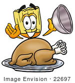 #22697 Clip Art Graphic Of A Straw Broom Cartoon Character Serving A Thanksgiving Turkey On A Platter