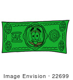 #22699 Clip Art Graphic Of A Straw Broom Cartoon Character On A Dollar Bill
