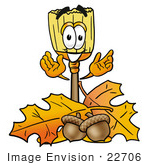 #22706 Clip Art Graphic Of A Straw Broom Cartoon Character With Autumn Leaves And Acorns In The Fall