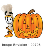 #22728 Clip Art Graphic Of A Bone Cartoon Character With A Carved Halloween Pumpkin