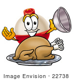 #22738 Clip Art Graphic Of A Fishing Bobber Cartoon Character Serving A Thanksgiving Turkey On A Platter
