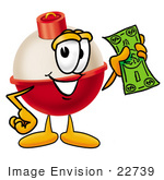#22739 Clip Art Graphic Of A Fishing Bobber Cartoon Character Holding A Dollar Bill