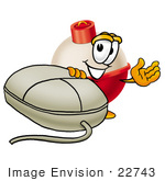 #22743 Clip Art Graphic Of A Fishing Bobber Cartoon Character With A Computer Mouse