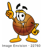 #22760 Clip Art Graphic Of A Basketball Cartoon Character Pointing Upwards