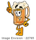 #22765 Clip Art Graphic Of A Frothy Mug Of Beer Or Soda Cartoon Character Pointing Upwards