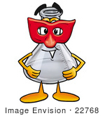 #22768 Clip Art Graphic Of A Beaker Laboratory Flask Cartoon Character Wearing A Red Mask Over His Face