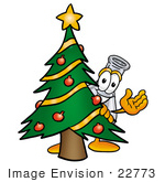 #22773 Clip art Graphic of a Beaker Laboratory Flask Cartoon Character Waving and Standing by a Decorated Christmas Tree by toons4biz