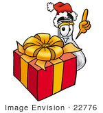 #22776 Clip Art Graphic Of A Beaker Laboratory Flask Cartoon Character Standing By A Christmas Present