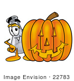 #22783 Clip Art Graphic Of A Beaker Laboratory Flask Cartoon Character With A Carved Halloween Pumpkin
