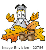 #22786 Clip Art Graphic Of A Beaker Laboratory Flask Cartoon Character With Autumn Leaves And Acorns In The Fall