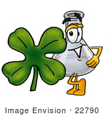 #22790 Clip Art Graphic Of A Beaker Laboratory Flask Cartoon Character With A Green Four Leaf Clover On St Paddy'S Or St Patricks Day