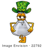 #22792 Clip Art Graphic Of A Beaker Laboratory Flask Cartoon Character Wearing A Saint Patricks Day Hat With A Clover On It