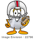 #22796 Clip Art Graphic Of A Laboratory Flask Beaker Cartoon Character In A Helmet Holding A Football