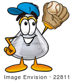 #22811 Clip Art Graphic Of A Laboratory Flask Beaker Cartoon Character Catching A Baseball With A Glove