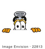 #22813 Clip Art Graphic Of A Laboratory Flask Beaker Cartoon Character Peeking Over A Surface