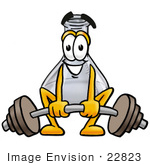 #22823 Clip Art Graphic Of A Laboratory Flask Beaker Cartoon Character Lifting A Heavy Barbell