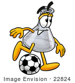 #22824 Clip Art Graphic Of A Laboratory Flask Beaker Cartoon Character Kicking A Soccer Ball