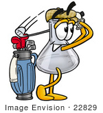 #22829 Clip Art Graphic Of A Laboratory Flask Beaker Cartoon Character Swinging His Golf Club While Golfing