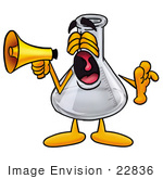 #22836 Clip Art Graphic Of A Laboratory Flask Beaker Cartoon Character Screaming Into A Megaphone