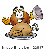 #22837 Clip Art Graphic Of A Basketball Cartoon Character Serving A Thanksgiving Turkey On A Platter