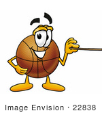 #22838 Clip Art Graphic Of A Basketball Cartoon Character Holding A Pointer Stick