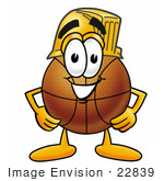 #22839 Clip Art Graphic Of A Basketball Cartoon Character Wearing A Hardhat Helmet
