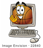 #22840 Clip Art Graphic Of A Basketball Cartoon Character Waving From Inside A Computer Screen