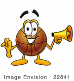 #22841 Clip Art Graphic Of A Basketball Cartoon Character Holding A Megaphone