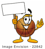 #22842 Clip Art Graphic Of A Basketball Cartoon Character Holding A Blank Sign