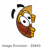 #22843 Clip Art Graphic Of A Basketball Cartoon Character Peeking Around A Corner