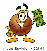 #22844 Clip Art Graphic Of A Basketball Cartoon Character Holding A Dollar Bill