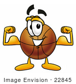 #22845 Clip Art Graphic Of A Basketball Cartoon Character Flexing His Arm Muscles