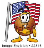#22846 Clip Art Graphic Of A Basketball Cartoon Character Pledging Allegiance To An American Flag