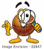 #22847 Clip Art Graphic Of A Basketball Cartoon Character Looking Through A Magnifying Glass