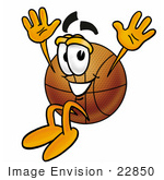 #22850 Clip art Graphic of a Basketball Cartoon Character Jumping by toons4biz