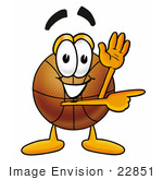 #22851 Clip Art Graphic Of A Basketball Cartoon Character Waving And Pointing