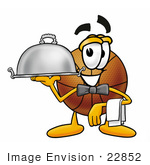 #22852 Clip Art Graphic Of A Basketball Cartoon Character Dressed As A Waiter And Holding A Serving Platter