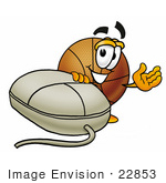 #22853 Clip Art Graphic Of A Basketball Cartoon Character With A Computer Mouse
