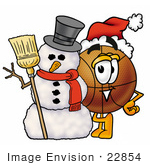 #22854 Clip Art Graphic Of A Basketball Cartoon Character With A Snowman On Christmas