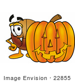 #22855 Clip Art Graphic Of A Basketball Cartoon Character With A Carved Halloween Pumpkin