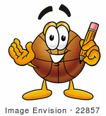 #22857 Clip Art Graphic Of A Basketball Cartoon Character Holding A Pencil