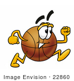#22860 Clip art Graphic of a Basketball Cartoon Character Running by toons4biz