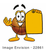 #22861 Clip Art Graphic Of A Basketball Cartoon Character Holding A Yellow Sales Price Tag