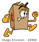 #22866 Clip Art Graphic of a Cardboard Shipping Box Cartoon Character Running by toons4biz