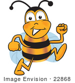 #22868 Clip Art Graphic Of A Honey Bee Cartoon Character Running